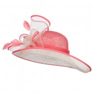 Flower Leaves Two Tone Sinamay Hat - Flamingo