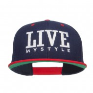 Live Mystyle Embroidered Two Tone Snapback - Navy Red