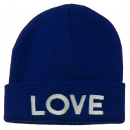 Love Embroidered Long Beanie - Royal