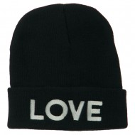 Love Embroidered Long Beanie - Navy