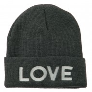 Love Embroidered Long Beanie - Grey