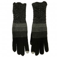 Women's Lace Knit Striped Texting Glove - Black
