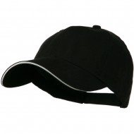 Low Profile Light Weight Brushed Twill Cap - Black White
