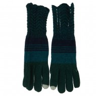 Women's Lace Knit Striped Texting Glove - Green