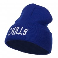 Chills Halloween Embroidered Long Beanie - Royal