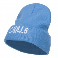 Chills Halloween Embroidered Long Beanie - Sky Blue