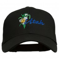 USA State Utah Flower Sego Lily Embroidery Organic Cotton Cap - Black