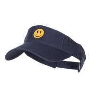 Smiley Face Embroidered Cotton Washed Visor - Navy