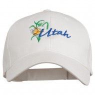 USA State Utah Flower Sego Lily Embroidery Organic Cotton Cap - White