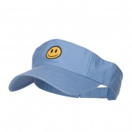 Smiley Face Embroidered Cotton Washed Visor - Blue