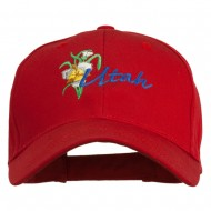 USA State Utah Flower Sego Lily Embroidery Organic Cotton Cap - Red
