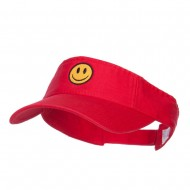 Smiley Face Embroidered Cotton Washed Visor - Red