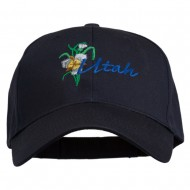 USA State Utah Flower Sego Lily Embroidery Organic Cotton Cap - Navy