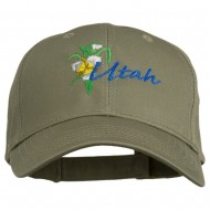 USA State Utah Flower Sego Lily Embroidery Organic Cotton Cap - Olive