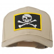 Jolly Roger Skull Military Patched Cap - Khaki