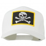 Jolly Roger Skull Military Patched Cap - White