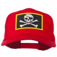 Jolly Roger Skull Military Patched Cap - Red