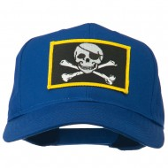Jolly Roger Skull Military Patched Cap - Royal