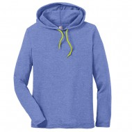 Men's Big Size Anvil Combed Ring Spun Cotton Long Sleeve Hooded T-Shirt - Heather Blue Neon Yellow