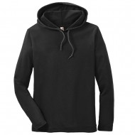Men's Big Size Anvil Combed Ring Spun Cotton Long Sleeve Hooded T-Shirt - Black Dk Grey
