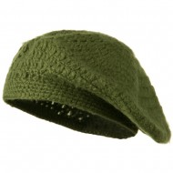 Mohair and Acrylic Knit Beret - Green