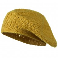 Mohair and Acrylic Knit Beret - Mustard