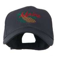 USA State Flower Maine Pine Cone and Tassel Embroidered Cap - Navy