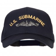US Submarine Logo Embroidered Solid Cotton Pro Style Cap - Navy