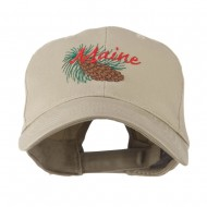 USA State Flower Maine Pine Cone and Tassel Embroidered Cap - Khaki