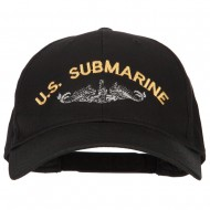 US Submarine Logo Embroidered Solid Cotton Pro Style Cap - Black