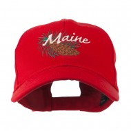 USA State Flower Maine Pine Cone and Tassel Embroidered Cap - Red