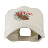 USA State Flower Maine Pine Cone and Tassel Embroidered Cap - Stone