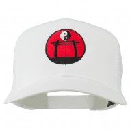 Martial Arts Yin and Yang Embroidered Mesh Cap - White