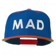 Mad Embroidered Two Tone Snapback Cap - Royal Orange