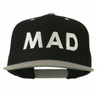 Mad Embroidered Two Tone Snapback Cap - Black Silver