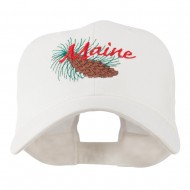 USA State Flower Maine Pine Cone and Tassel Embroidered Cap - White
