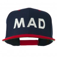Mad Embroidered Two Tone Snapback Cap - Navy Red