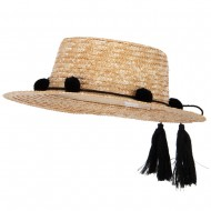 Women's Straw Braid Tassel Tie with Pom-Pom Accented Boater Hat - Natural