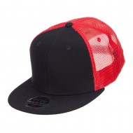 Mesh Premium Snapback Flat Bill Cap - Black Red