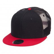 Mesh Premium Snapback Flat Bill Cap - Red Black