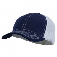 Brushed Cotton Mesh Moisture Absorbing Cap - Navy White