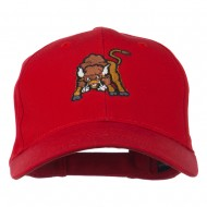Small Bison Mascot Embroidered Low Profile Cap - Red