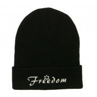 Freedom Embroidered Long Beanie - Black