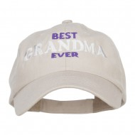 Best Grandma Ever Embroidered Low Cap - Stone