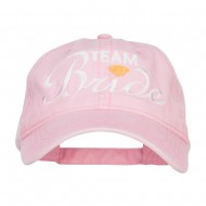Team Bride Embroidered Dyed Cotton Cap - Pink
