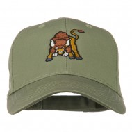 Small Bison Mascot Embroidered Low Profile Cap - Olive