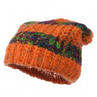 Multi Color Long Beanie - Orange