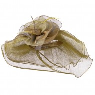Multi Color Flower Accent Sinamay Hat - Pecan