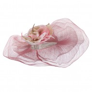 Multi Color Flower Accent Sinamay Hat - White