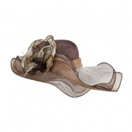 Multi Color Flower Accent Sinamay Hat - Brown